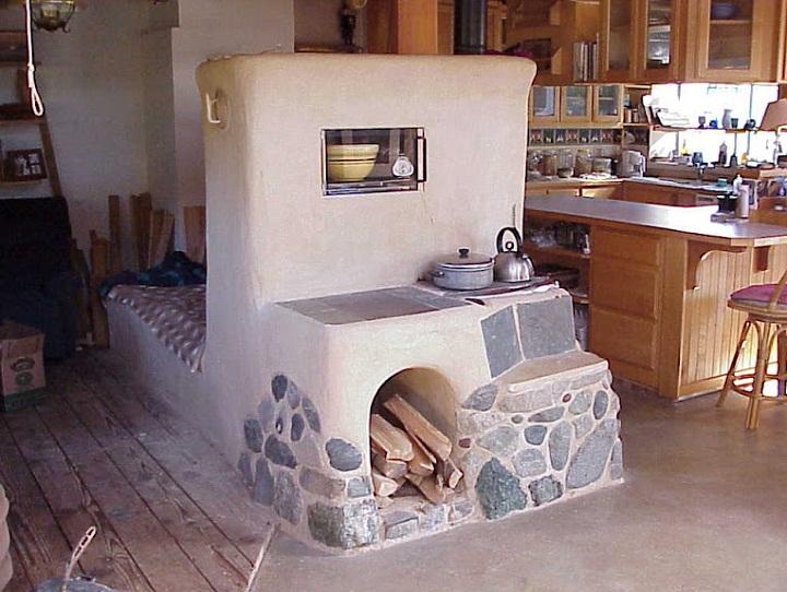 Печь-камин топится