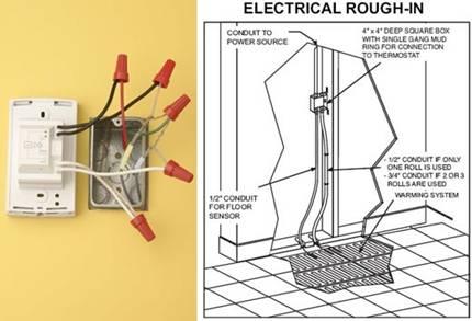подключении электрического теплого пола